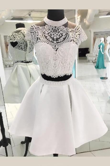 Custom Made Splendid Two Pieces Homecoming Dresses, White Homecoming Dresses, Homecoming Dresses