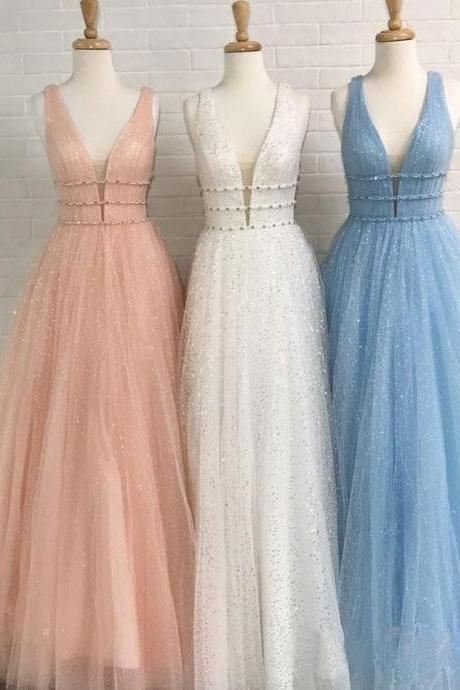 A Line Deep V Neck party dresses, Ball Gown Prom Dresses Open Back White Evening Dresses