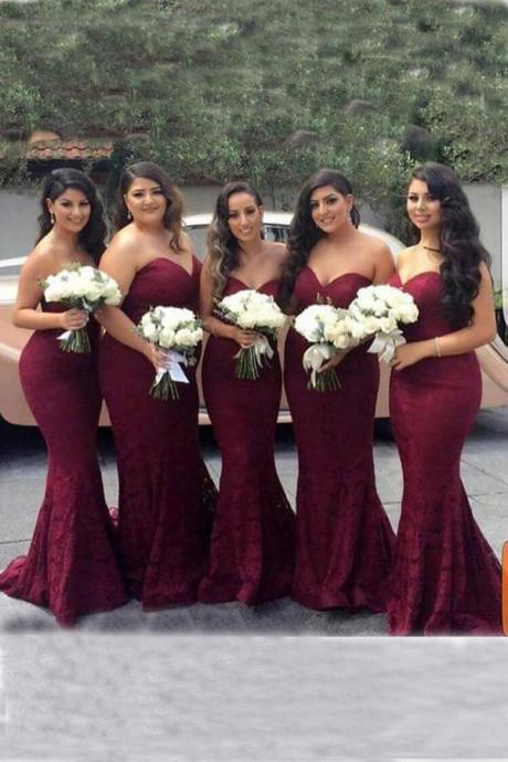 Elegant Sweetheart Strapless evening dress Burgundy Lace Mermaid party dress Cheap Long Bridesmaid Dresses
