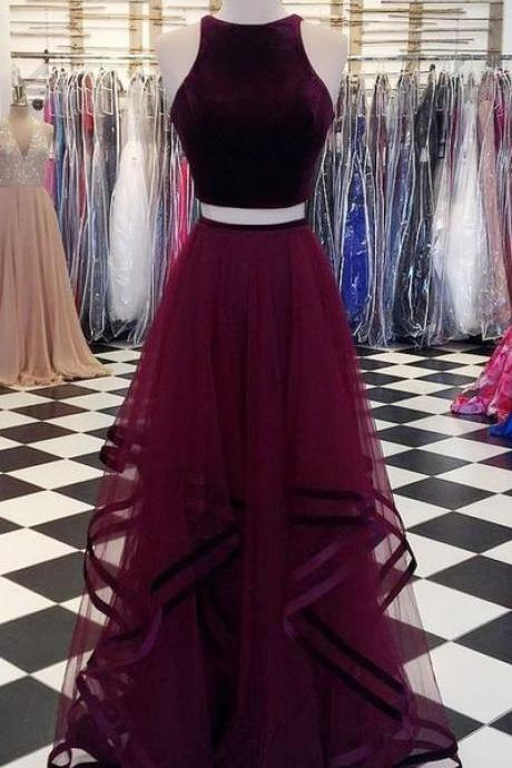 wine red party dress halter neck evening dress two piece prom dress
