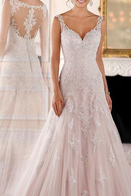 white wedding dress Elegant Tulle V-neck wedding dress With Beaded Lace Appliques wedding dress