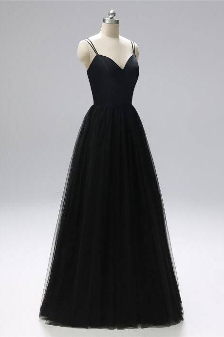 5a5544335d Spaghetti straps evening dress A-line party dress black Long Prom Gowns