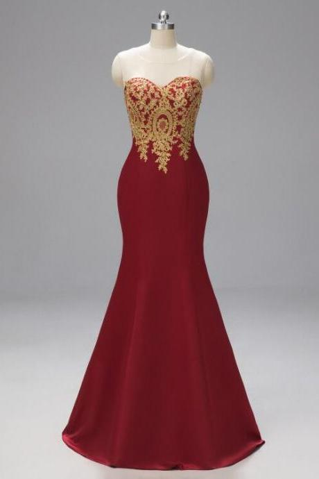 Sleeveless evening dress mermaid party dress red Prom dress