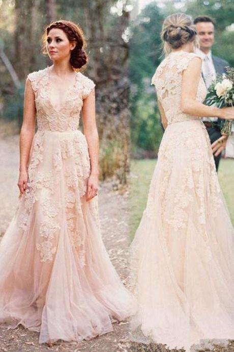 Pearl Pink A Line V-neck Sleeveless Floor-Length Tulle Wedding Dress With Lace Appliques
