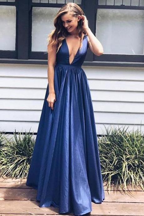 Sexy Taffeta evening dress A-line Floor-length party dress V Neck Long Prom Dresses
