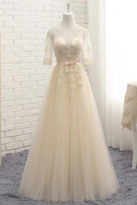 Champagne color bridesmaid dress half sleeve evening dress new style party dress lace tulle formal dress