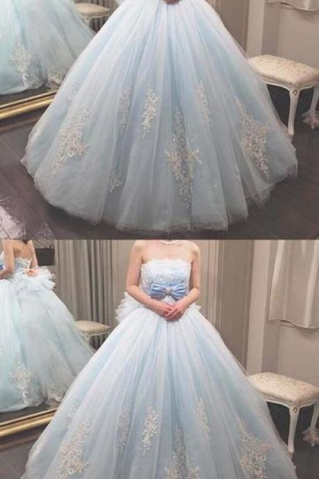 light blue party dress strapless evening dress applique ball gown dress with bow
