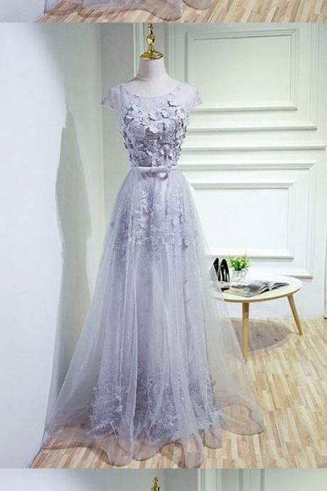 gray party dress round neck evening dress tulle lace applique prom dress