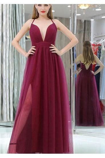 rose red party dress v neck evening dress spaghetti straps prom dress tulle high split dress