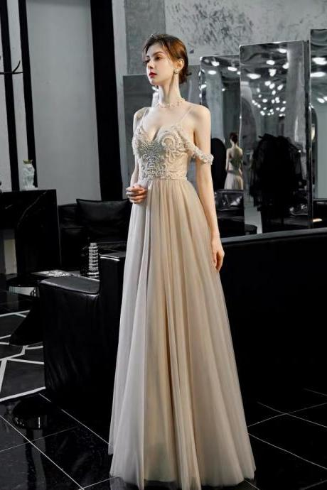 High-end evening dress spaghetti straps prom dress v-neck party dress tulle formal dress sleeveless party dress