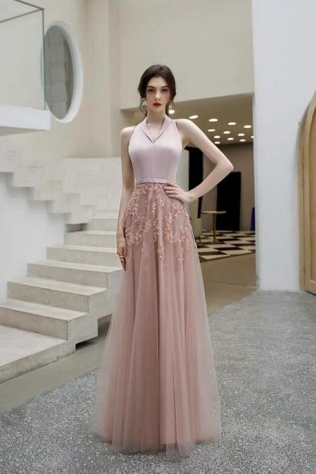 Pink evening dress halter neck prom dress v-neck party dress backless evening dress sleeveless formal dress