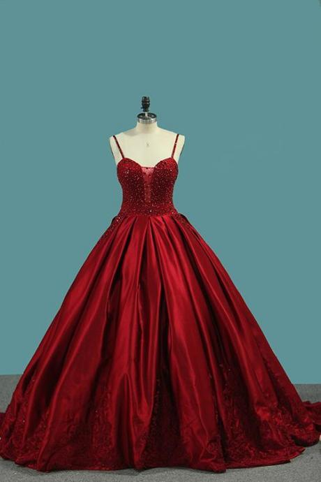 Burgundy Spaghetti Straps evening dress red party dress Beading Prom Dresses Princess Ball Gown