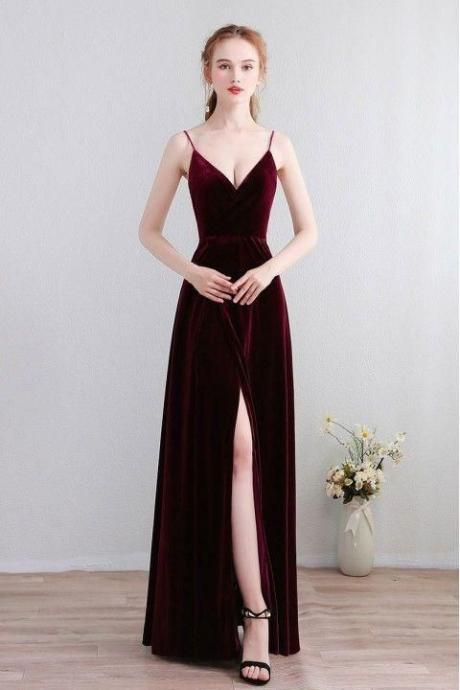 wine red Prom Dresses Velvet Spaghetti Straps party dress Open Back Bridesmaid Dress with High Split spaghetti evening dres
