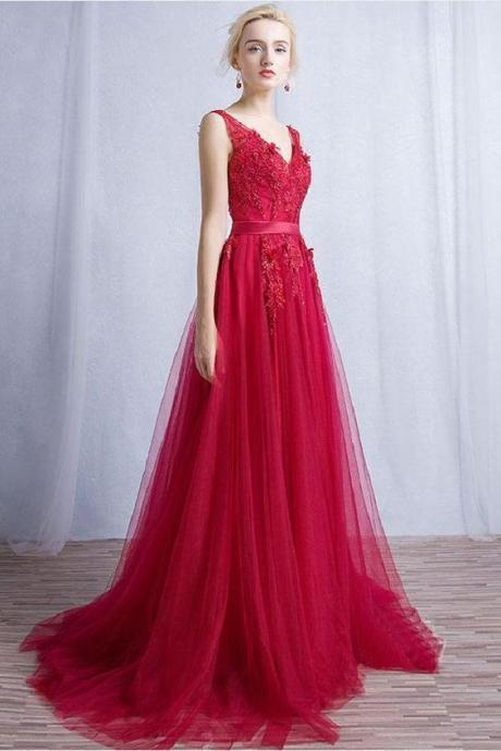 spaghetti prom dress V Neck Prom Dresses, Burgundy Bridesmaid Dresses, Lace Bridesmaid Dresses, appliques evening dress