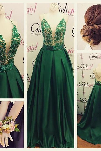 Deep V Prom Dress Sexy Evening Dress Green Formal Dress Beautiful Spaghetti Straps Party Dress