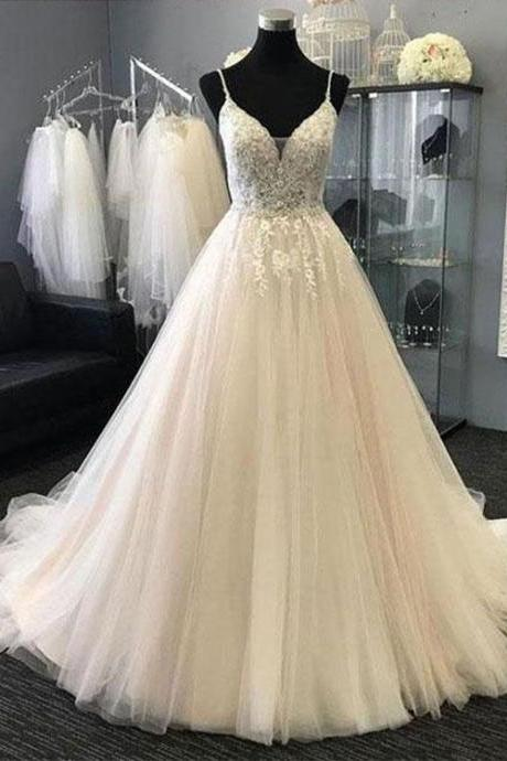white wedding dress v neck wedding dress tulle applique wedding dress spaghetti straps wedding dress