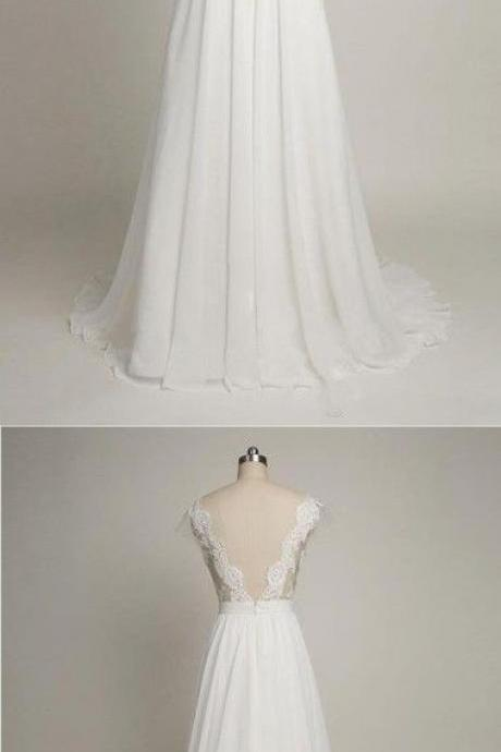 harming Prom Dress,White Chiffon Prom Dress,Lace and Appliques Prom Dress,Long Prom Dresses