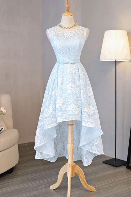 Blue A-line/Princess Prom Dresses, Long Blue Homecoming Dresses, Light Blue Lace Round Neck High Low Halter Bow Prom/Homecoming Dresses