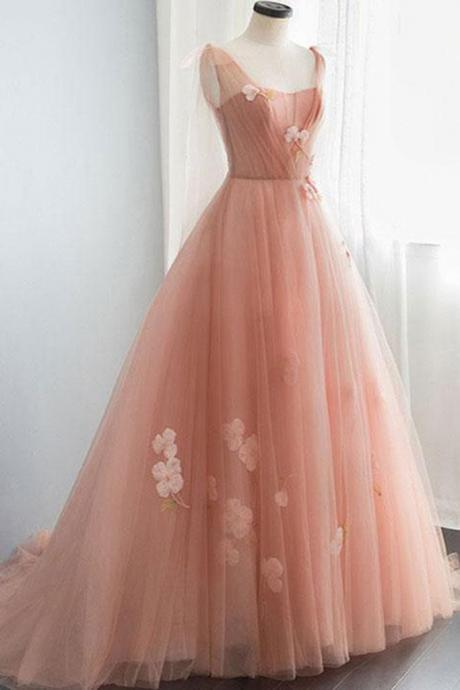pink party dress tulle evening dress Lace Applique Long Prom Dress