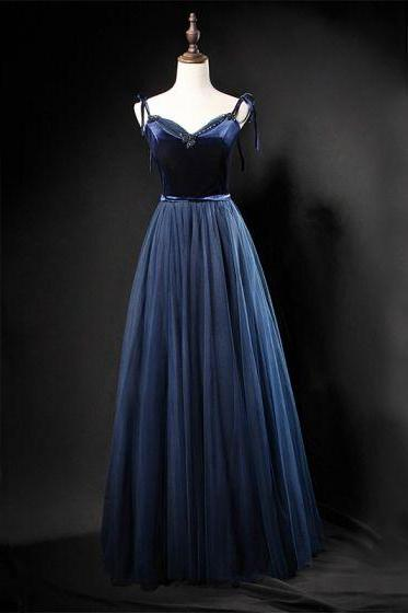 Navy Blue party dress spaghetti straps evening dress v neck prom dress backless formal dress