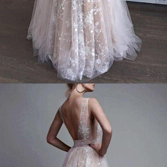 2018 A-Line Deep V-Neck Tulle Lace Appliques Floor-Length Long Sexy Party Prom Dress,Custom Made, Party Gown,Cheap Prom Dress