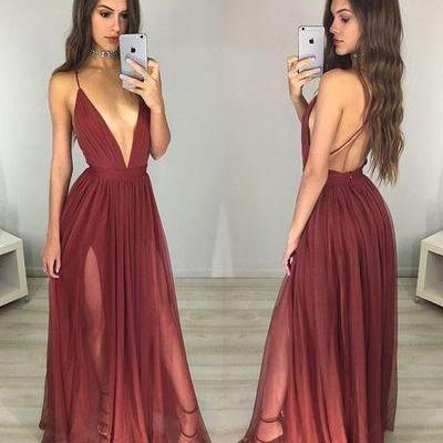 Sexy Deep V Neck Prom Dress,Spaghetti Straps Prom Dress,A-Line Prom Dress, Evening Dress,Custom Made, Party Gown,Cheap Prom Dress