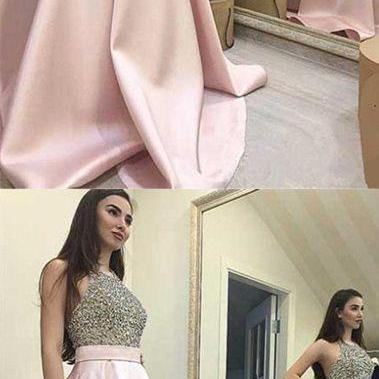 Halter Pink Satin Beads Ball Gown Prom Dress Graduation Dresses
