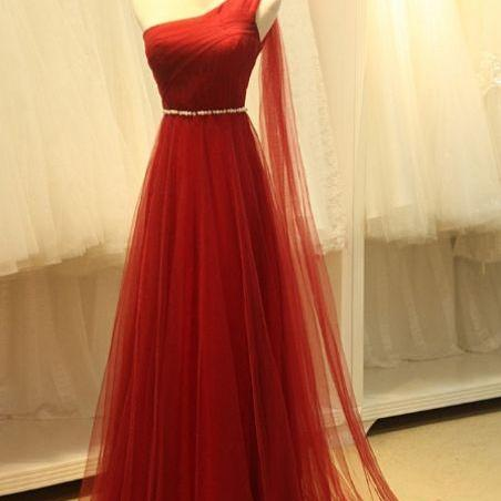 Delightful Sleeveless Prom Dresses, Red Sleeveless Prom Dresses, Long Prom Dresses, Real Beautiful Long One Shoulder High Low Tulle Prom Dresses