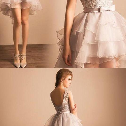 Princess Prom Dresses, Silver Prom Dresses, Short Prom Dresses With Bowknot Sleeveless Round