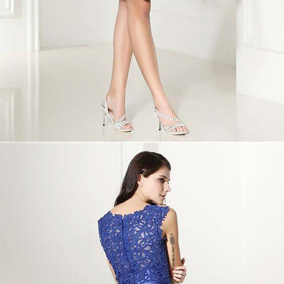 Modest Sleeveless Blue Satin Formal Dress Short With Lace Top