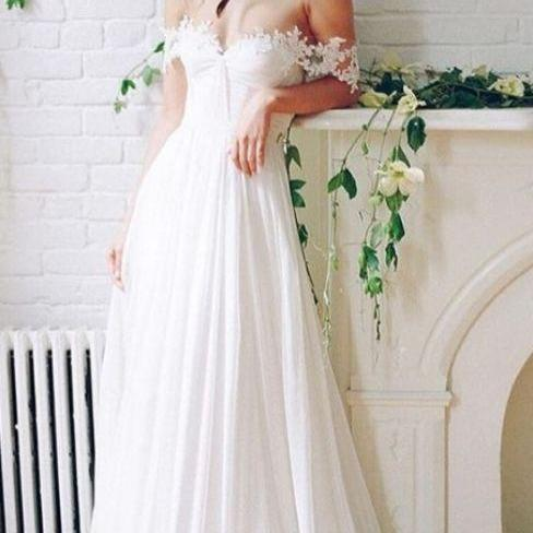 Princess Wedding Dresses, White Wedding Dresses, Long Wedding Dresses With Lace Sleeveless Off-the-Shoulder