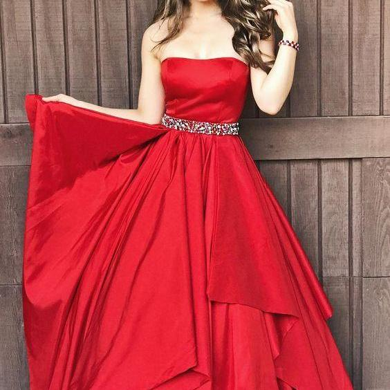 Gorgeous Strapless party dress Red Long Prom Dress ball gown  Formal Dress