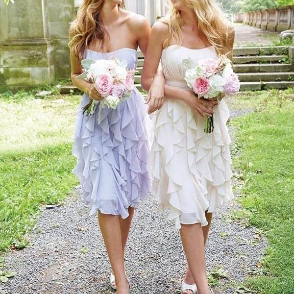 Short Bridesmaid Dress, Sleeveless Bridesmaid Dress, Chiffon Bridesmaid Dress, Dress for Wedding, Knee-Length Bridesmaid Dress, Sweet Heart Bridesmaid Dress,Sleeveless Bridesmaid Dress