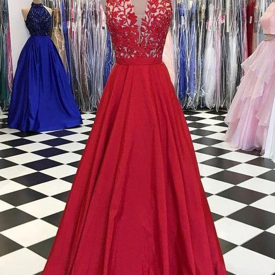 Red v neck lace applique long prom dress, red evening dress