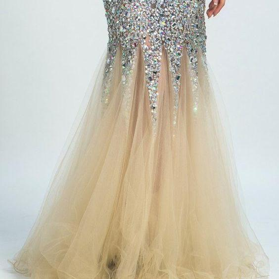 Trumpet Evening Dresses, Grey Evening Dresses, Long Evening Dresses With Rhinestone Sleeveless Straps