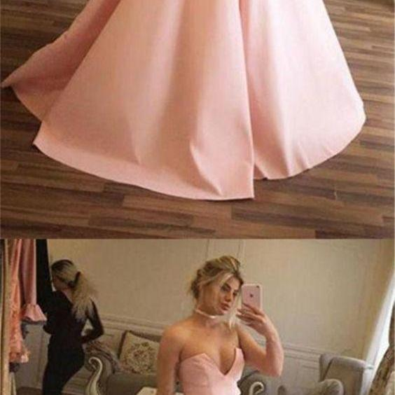 fashion pink satin ball gown prom dress with ruched, elegant sleeveless pink party dress