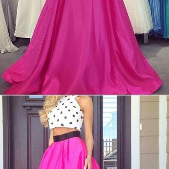Two Piece Prom/Evening Dress - Fuchsia A-Line Crew Neck Floor Length