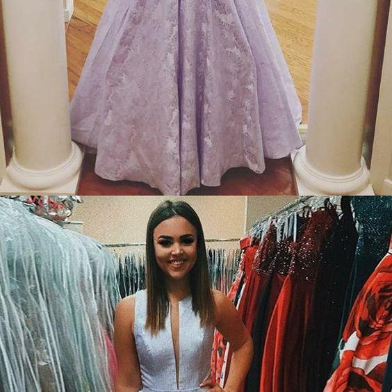 A-Line Round Neck Floor Length Lilac Lace Evening Prom Dress