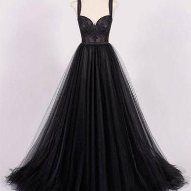 Newest Black Sweetheart Neck Tulle Prom Dress,Black Evening Dress