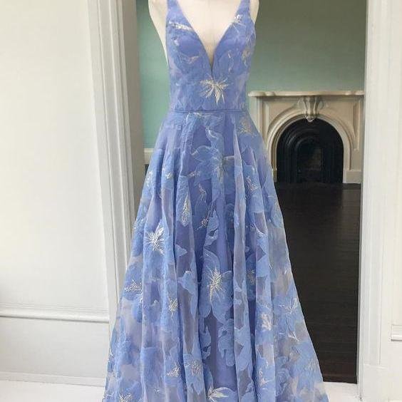 Princess Party Dress,Beautiful prom dress,Blue Prom dress