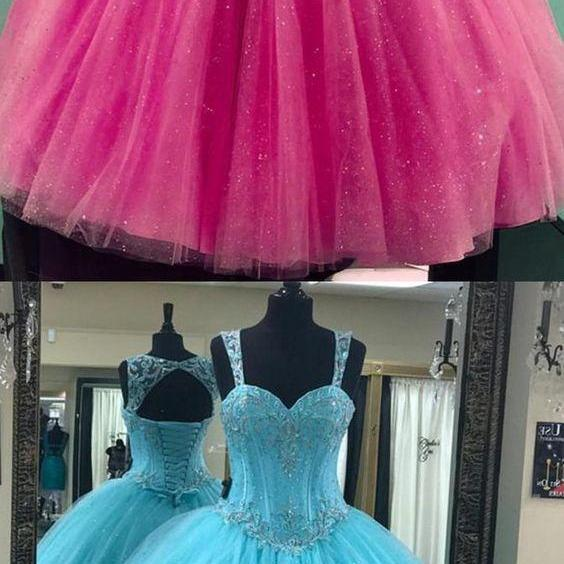 cute open back ball gowns for sweet 16 prom, dreamy beaded quinceanera dresses
