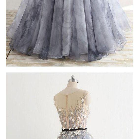 A Line Round Neck Knot Prom Ball Gown with Beading,Custom Made, Party Gown,Evening Dress