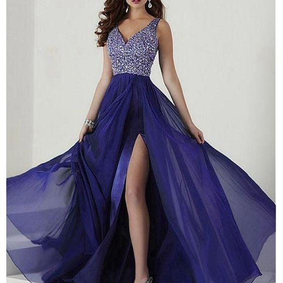 A-Line V-Neck Beaded Long Chiffon Prom Formal Evening Dresses ,Custom Made,Party Gown,Cheap Prom dress
