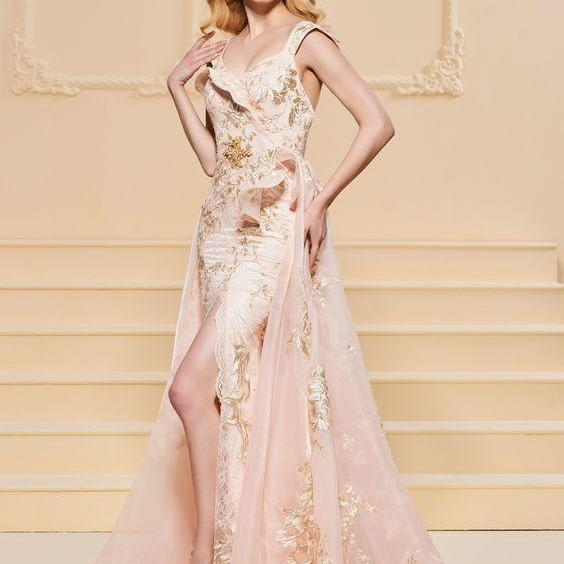 A-Line Embroidery Lace Split-Front Evening Dress,Custom Made,Party Gown,Cheap Prom dress