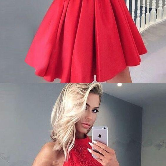 A-Line Halter Backless Red Satin Short Homecoming Dress with Lace,Party Gown,Cheap Evening dress, Party Gown