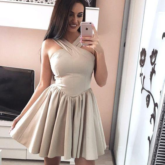 Halter X Neck Strapless Homecoming Dress,Sexy Short Prom Dress,Custom Made,Party Gown,Cheap Evening dress