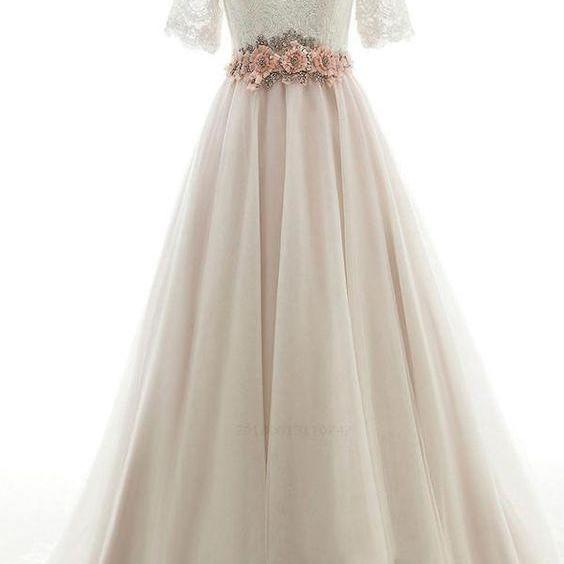 Wedding Dresses Long, Ombre Wedding Dresses, Wedding Dresses With Sleeves, Pink Prom Dresses,Custom Made,Party Gown,Cheap Evening dress