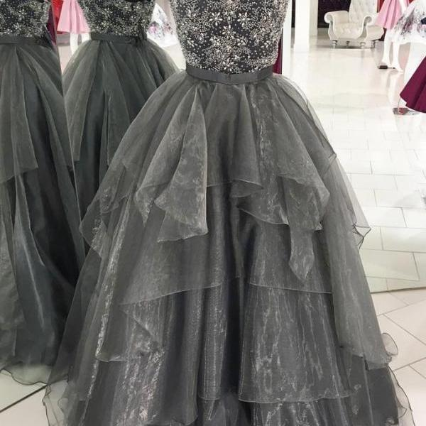 UNIQUE GRAY TULLE BEADS LONG PROM GOWN, GRAY TULLE LONG EVENING DRESS