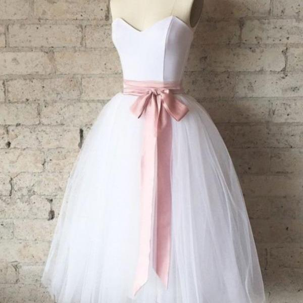 SIMPLE WHITE TULLE TEA LENGTH PROM DRESS, WHITE BRIDESMAID DRESS