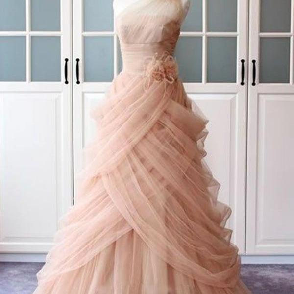 Unique pink tulle long prom dress, pink evening dress Unique pink tulle long prom dress, pink evening dress Unique pink tulle long prom dress, pink evening dress